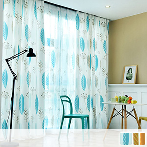 Scandinavian taste leaf pattern curtain, drape curtain
