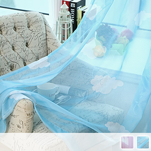 Lace curtain, cute cloud pattern, children's room