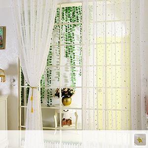 sheer curtains, glittering star moon pattern