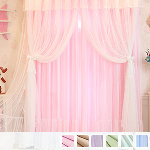 Drape and sheer integrated curtains, fluffy 3-layer sheer princess curtains