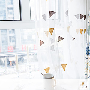 sheer curtain, geometric pattern combination of Scandinavian taste