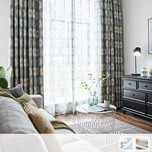 curtain set, floral Scandinavian curtains