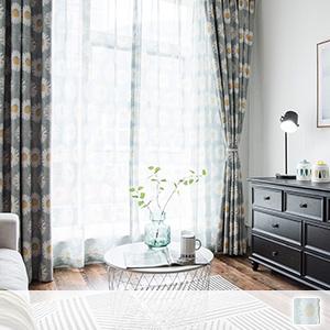 sheer curtains, floral Scandinavian curtains