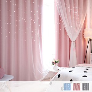Drape and lace integrated curtain, carved star pattern