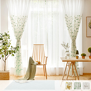sheer curtains with elegant leaf embroidery