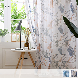 Nordic sheer curtains with ink-wash elegant leaf pattern