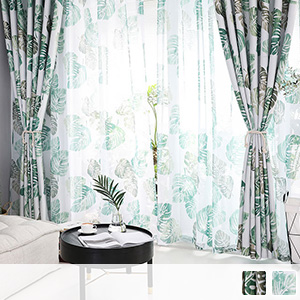 curtain set with Nordic leaf pattern