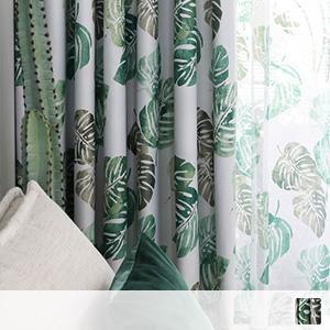 Scandinavian plant pattern drape curtain
