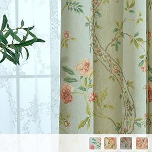 Elegant floral lace set curtains