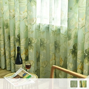 curtain set with healing green and floral pattern