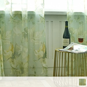 Lace curtain, healing green, floral pattern