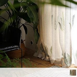 Drape curtain, leaf pattern with Scandinavian taste