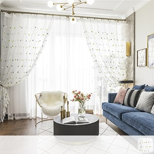 Lace curtain embroidered with a cute star pattern