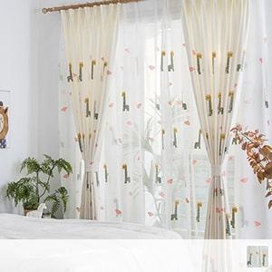 Lace curtain, cute giraffe embroidery