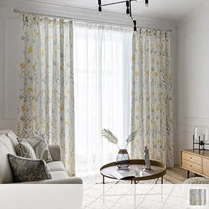 drape curtain with ink-style petite flower