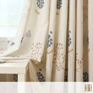 Drape curtain, a natural piece with dancing butterflies