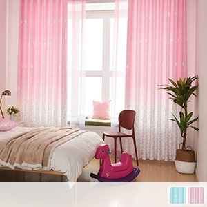 Cute floral gradient drape curtain
