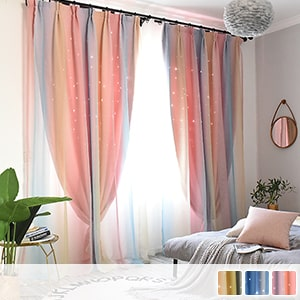 Drape and lace integrated curtains, carved star pattern, cute stripes