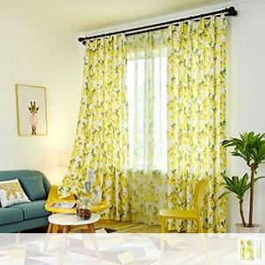 curtain set with botanical and refreshing lemon pattern