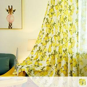 Tropical lemon pattern drape curtain