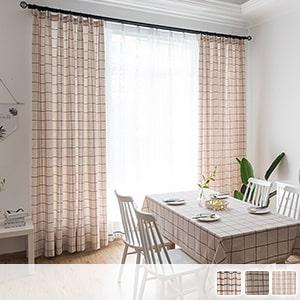 Country style plaid drape curtain