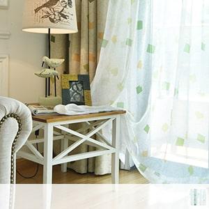 Bright plaid lace curtain