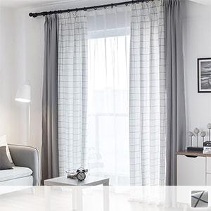 Drape curtain with Scandinavian taste check and plain drape combination