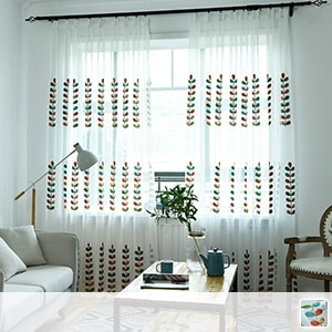 Lace curtains, colorful and cute leaf embroidery