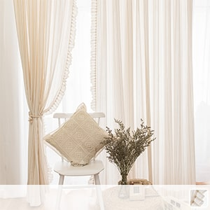 sheer curtains, a retro piece that makes use of gentle texture of hemp