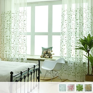 Lace curtains, lace with a gentle leaf pattern embroidered
