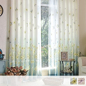 drape curtain with butterflies dance and fragrant meadow pattern