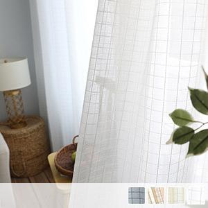 Lace curtain, plaid
