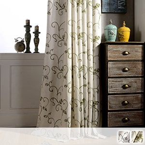 Drape curtains embroidered with beautiful plants