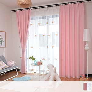Drape curtain, cute rainbow embroidery and pink coordination net