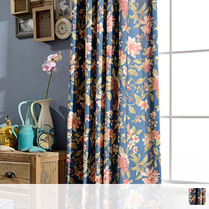 Country style floral drape curtain