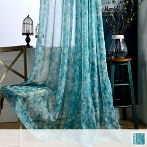 sheer curtains with botanical leaf pattern