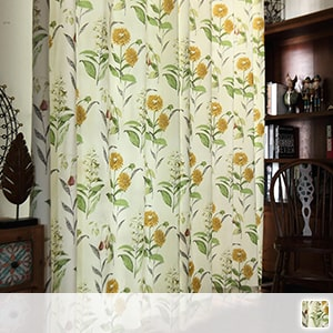 drape curtain, retro sunflower pattern