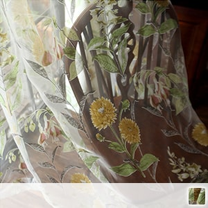 sheer curtains, retro sunflower pattern