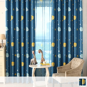 Drape curtains, cute planet prints, perfect for children's rooms