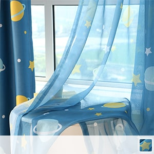 Lace curtains, cute planet prints, perfect for children's rooms