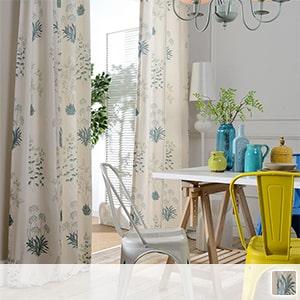 Drape curtain, botanical pattern