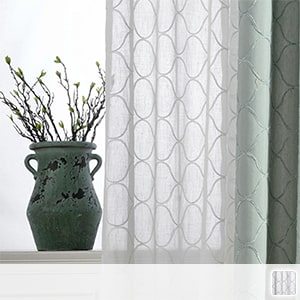 sheer curtains with Nordic geometric patterns