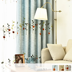 Drape curtain embroidered with cute ladybirds