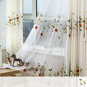 Lace curtain, cute ladybird embroidery
