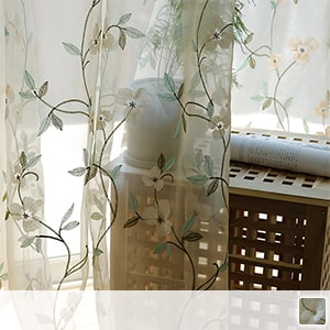 sheer curtains with botanical floral embroidery