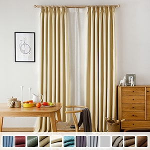 99.99% blackout curtains, faux linen custom plain drape