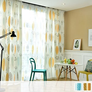 Nordic leaf patterned curtain set
