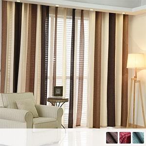 American striped curtain set