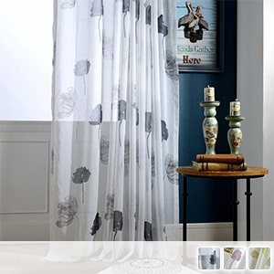 sheer curtains designed with lotus of ink painting texture
