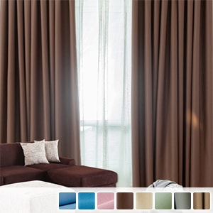 blackout drape curtains with glossy plain texture